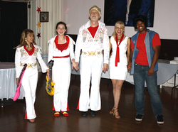 "Marilou, Aislynn, Dr. David Taber, teacher Jan, Charles performing ""Elvis"" at the Dance for the Cure 2015"