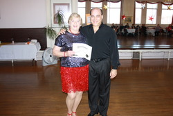 Anne & teacher Jim receiving Award at the Princess City Showcase