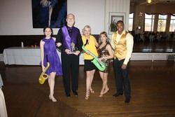 Aislynn, Dr. David Taber, teacher Jan, Marilou, & Charles dancing Swing at the  Princess City Showcase 2014